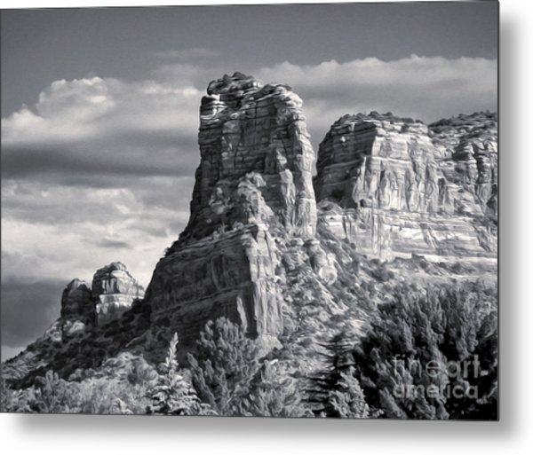 Sedona Arizona Mountain Peak - Black And White Metal Print