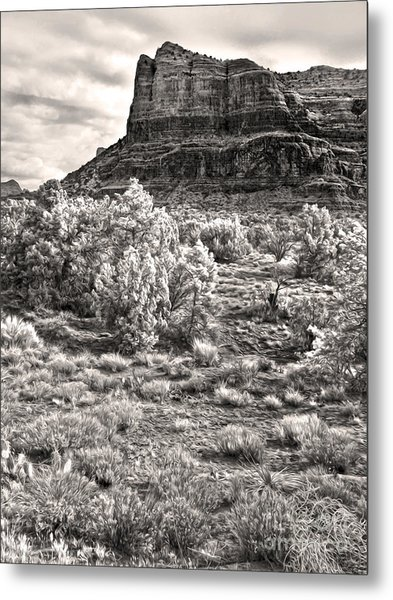 Sedona Arizona Mountain View  - Black And White Metal Print by Gregory Dyer