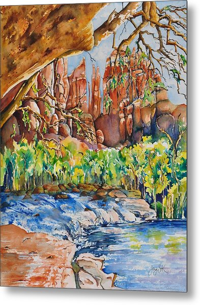 Sedona - Cathedral Rock Metal Print by Joy Skinner