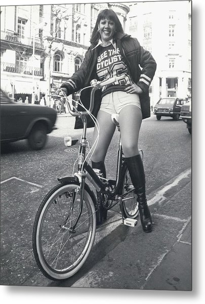 See The Cyclist �76 Campaign Metal Print by Retro Images Archive