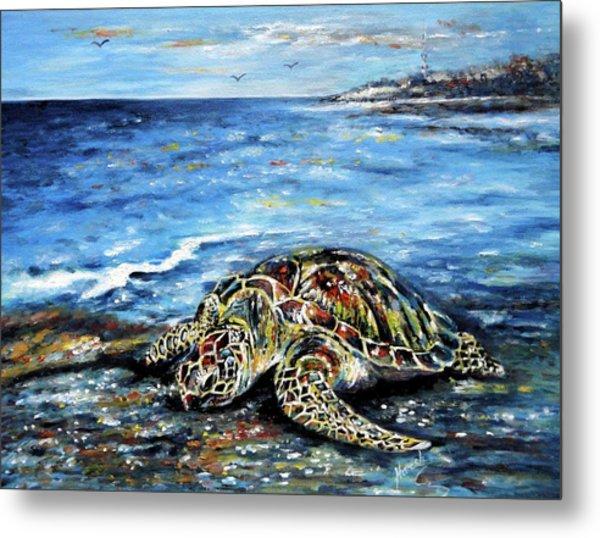See Weed Turtle Metal Print