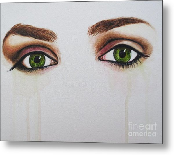 Seeing Into The Soul Serious Metal Print