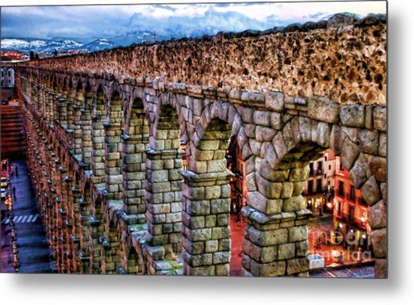 Segovia Aqueduct Spain By Diana Sainz Metal Print