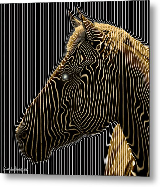 Self-conscious Attempt To Become Zebras.  2013  80/80 Cm.  Metal Print by Tautvydas Davainis