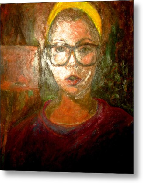 Self Portrait In Yellow Headband Metal Print