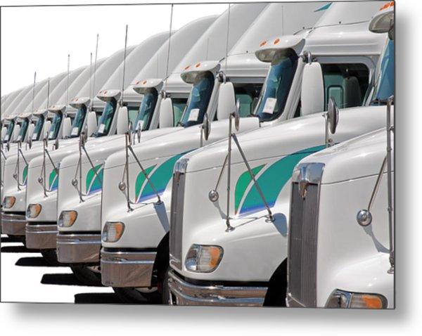 Semi Truck Fleet Metal Print