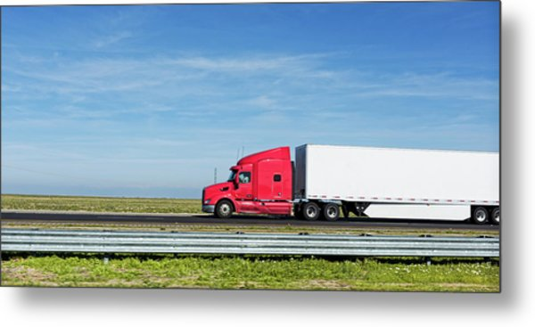 Semi Truck Moving On The Highway Metal Print