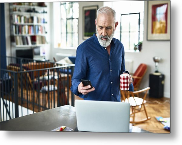 Senior Creative Professional Remote Working And Checking Phone At Home Metal Print by 10'000 Hours