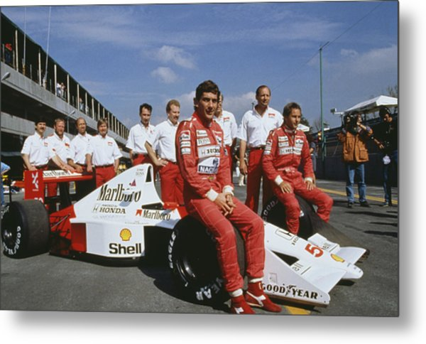 Senna With Mclaren Team Metal Print by Getty Images