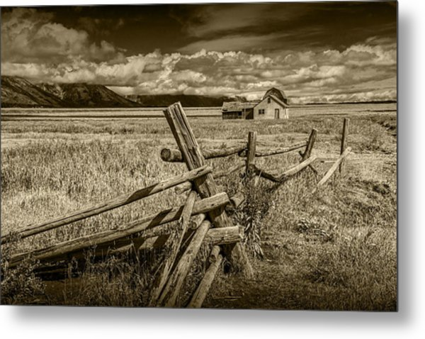 Sepia Colored Photo Of A Wood Fence By The John Moulton Farm Metal Print