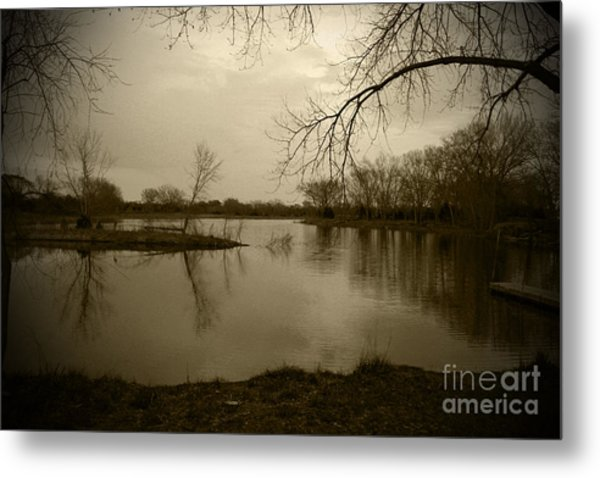 Sepia Lake Metal Print
