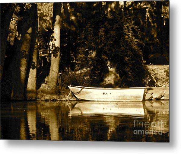 Sepia Rowboat Metal Print