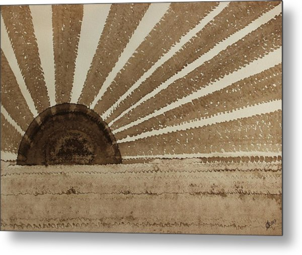 Sepia Sunset Original Painting Metal Print