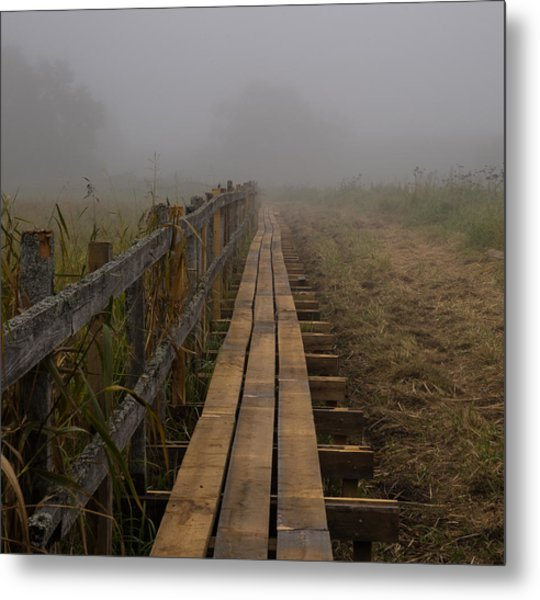 Metal Print featuring the photograph September Mist Hdr - Foggy Day Over Walk Way by Leif Sohlman