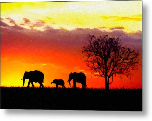 Serengeti Silhouette Metal Print