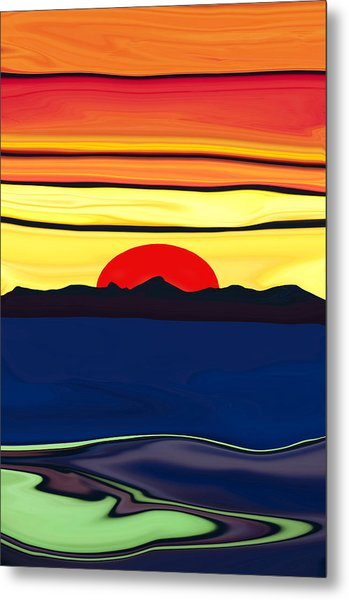 Serenity Lake Sunset Metal Print
