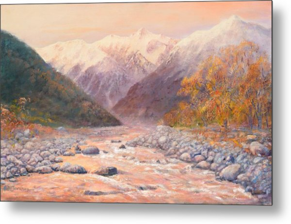 Serenity Mountains Metal Print by Peter Jean Caley