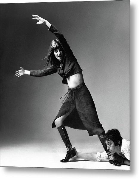 Serge Gainsbourg At The Foot Of Jane Birkin Metal Print