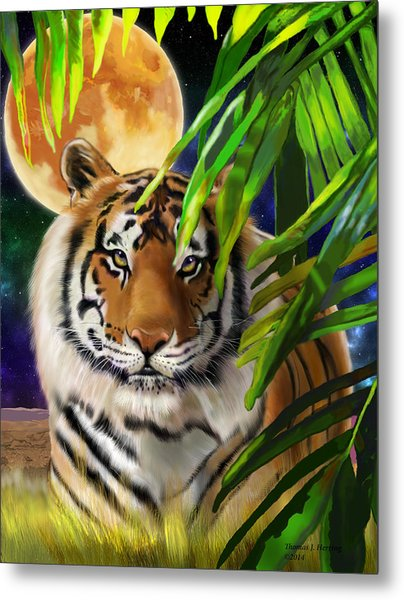 Metal Print featuring the painting Second In The Big Cat Series - Tiger by Thomas J Herring