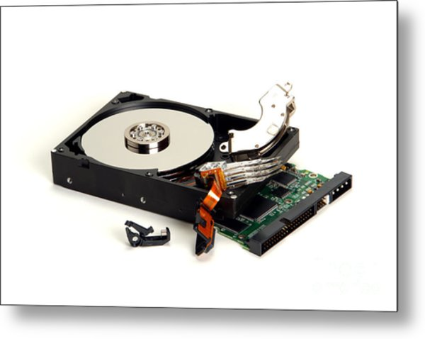 Seriously Crashed Hard Drive Metal Print