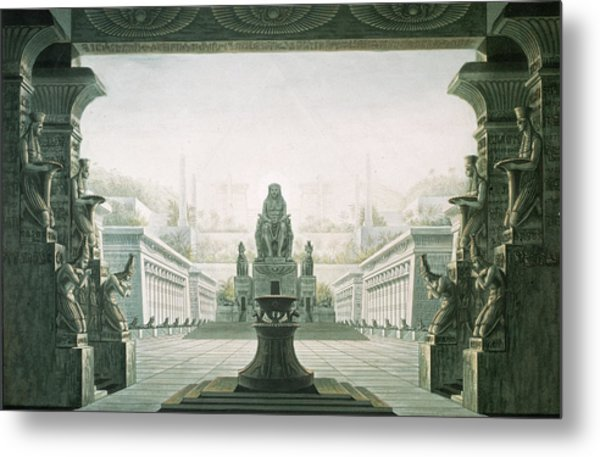 Set Design For Last Scene Of The Magic Flute By Wolfgang Amadeus Mozart 1756-91  Metal Print