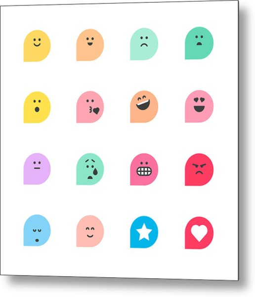 Set Of Basic Emoticons Reactions Metal Print by Calvindexter