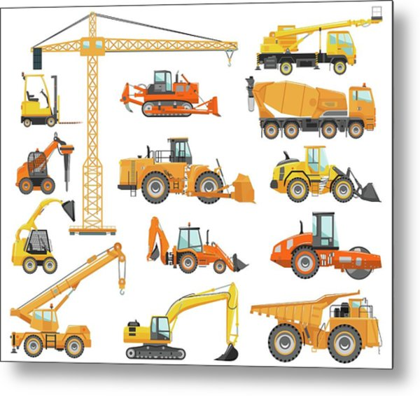 Set Of Detailed Heavy Construction And Metal Print by Alexyustus