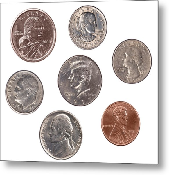 Set Of U.s. Coins Metal Print by Joe Belanger