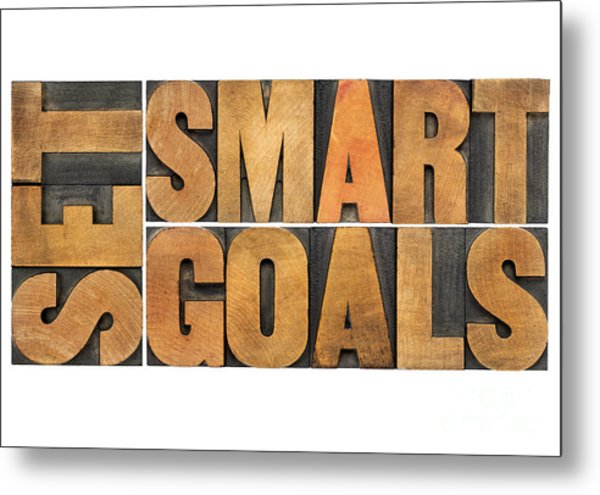 Set Smart Goals In Wood Type Metal Print