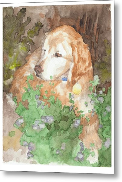 Setter Dog In Flowers Watercolor Portrait Metal Print by Mike Theuer
