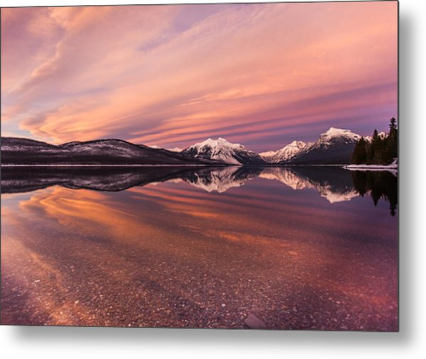 Setting On Glacier Metal Print