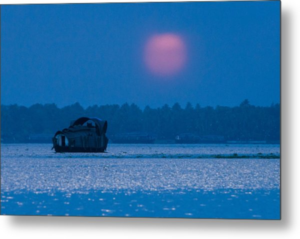 Setting Sun And Boat Metal Print