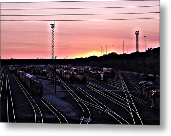 Setting Sun Shining Rails Metal Print by Elizabeth Sullivan