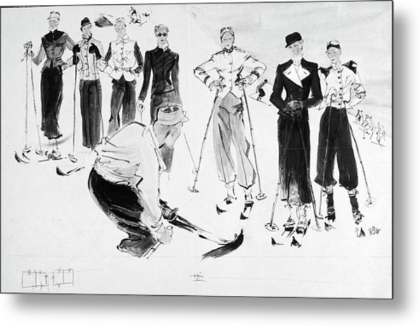 Seven Women Wearing Ski Outfits Metal Print