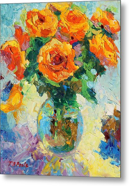 Seven Yellow Roses In Glass Vase Oil Painting Metal Print