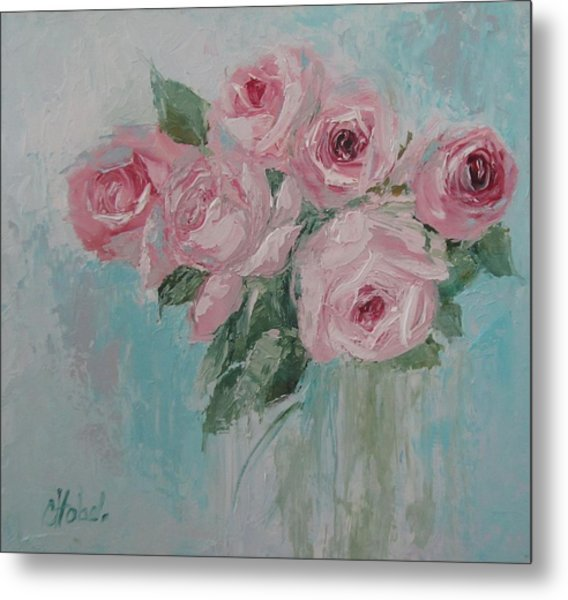 Shabby Chic Pink Roses Oil Palette Knife Painting Metal Print