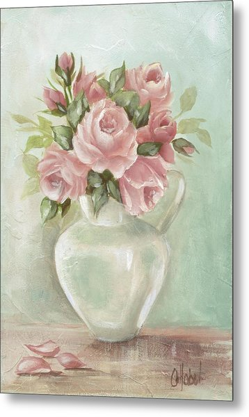 Shabby Chic Pink Roses Painting On Aqua Background Metal Print
