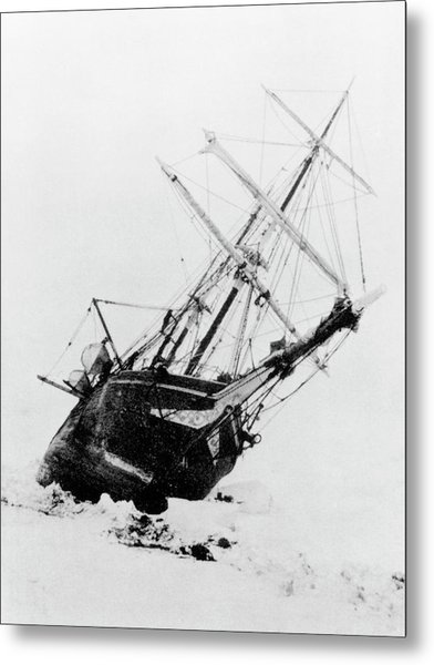 Shackleton's Ship Trapped In Antarctic Ice Metal Print