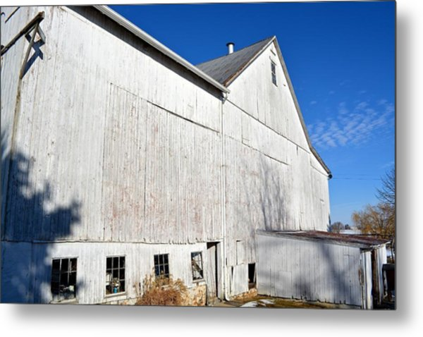 Shadow On White Barn Metal Print