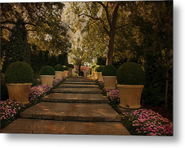 Shady Garden Walk Metal Print by Cindy Rubin