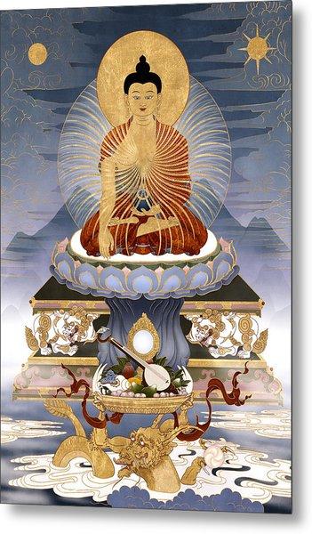 Shakyamuni Buddha - The Dragons Story Metal Print by Ben Christian