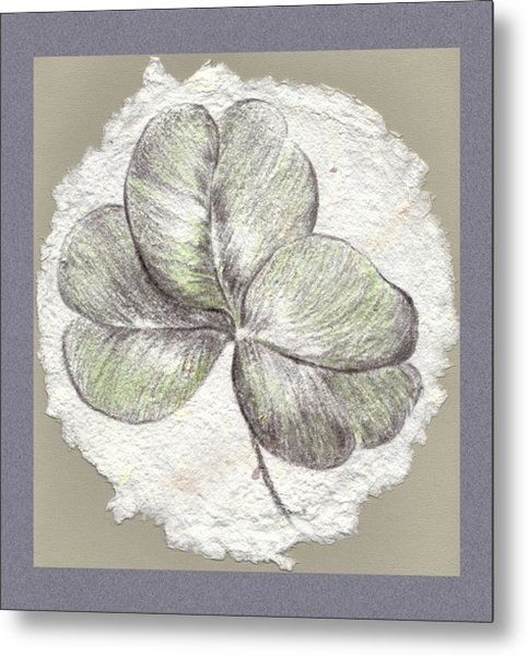 Shamrock On Handmade Paper Metal Print