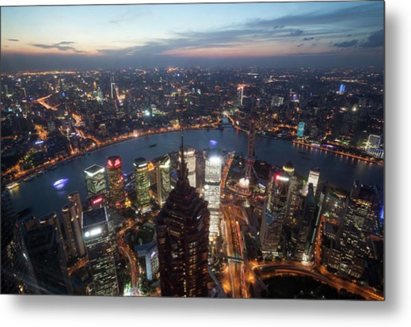 Shanghai Pudong City At Night From The Metal Print