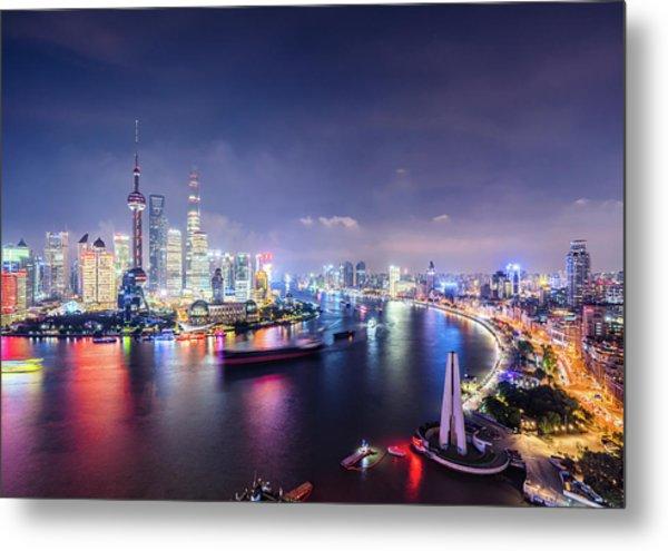 Shanghai Skyline At Night Metal Print by Yongyuan Dai