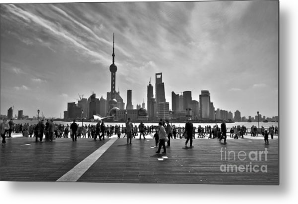 Shanghai Skyline Black And White Metal Print
