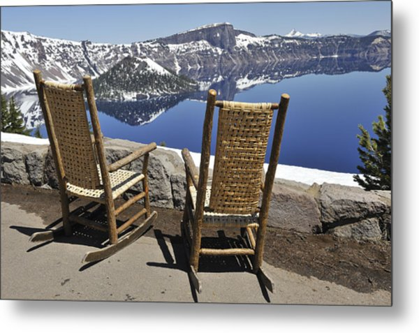 Share A Moment At Crater Lake Oregon Metal Print by Clay and Gill Ross