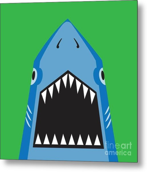 Shark Illustration, T-shirt Graphics Metal Print