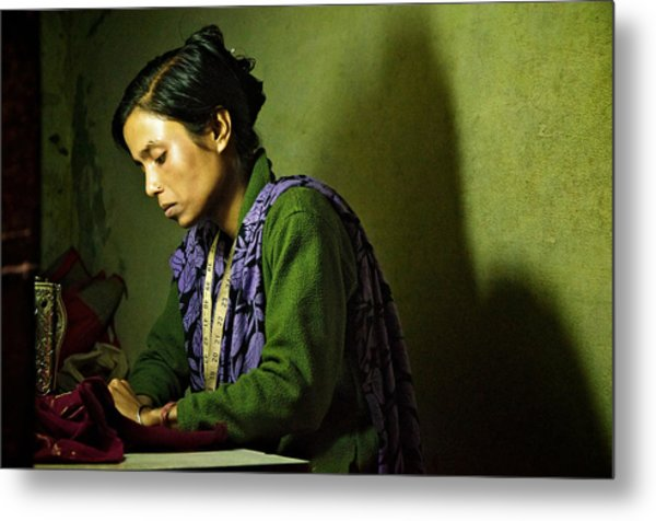 She Sews Into The Night Metal Print