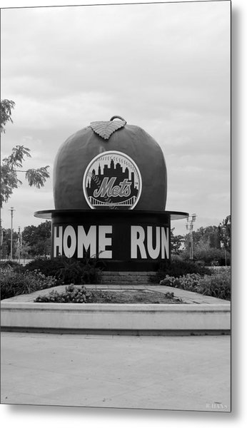 Metal Print featuring the photograph Shea Stadium Home Run Apple In Black And White by Rob Hans