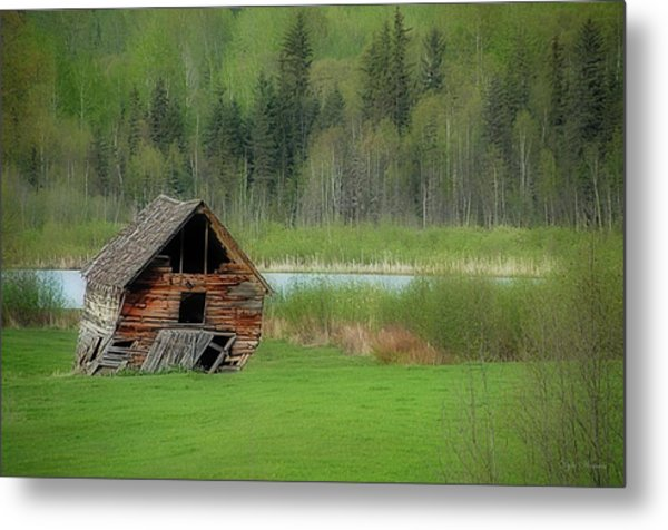 Shed By The Lake Metal Print